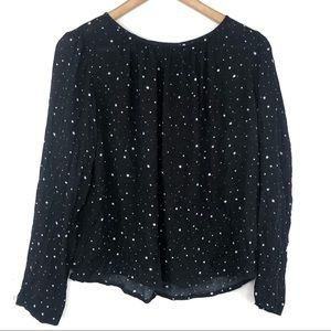 H&M Black & White Long Sleeve Stars Blouse